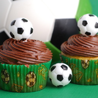 Soccer Cupcakes Basic cupcakes topped with chocolate frosting and a mini plastic soccer ball. These were used to celebrate my son's first soccer...