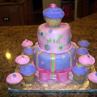 Mia's Cupcake Cake Cake done for one year old