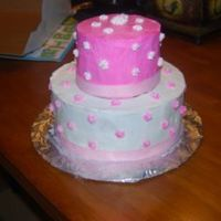 Pink And White pink and white bc with fondant accents