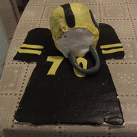 Steelers Helmet Cake I made this cake for my father in law. The fondant was very soft, so its not as good as I would have liked. The Jersey is #70. The only...