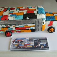 Partridge Family Bus This is the bus I did for the fair that is coming up next week. It is a cake dummy. Fondant covered and painted.