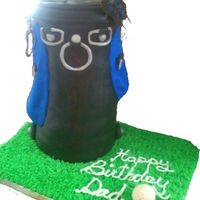 Golf Bag My first BIG cake. Though the picture is deceiving this is a four layer torted cake covered in black chocolate MMF.