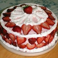 Strawberry Cake Number 2 Strawberry cake mix with about 1/2 cup of diced strawberries, crushed-sugared fresh berries for the filling and covered with strawberry BC...
