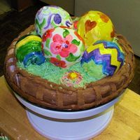 "Eastercake.jpg This used two cake mixes. The eggs were baed in a Wilton ""Mini Wonder"" (I think) pan. The grass is dyed coconut and the cake is..."
