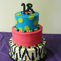 Disco Zebra Made for 13th birthday disco party. Buttercream with fondant accents. TFL :)