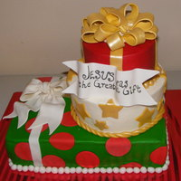 Christmas Presents Christmas present cake for church Christmas play. Buttercream with fondant accents. TFL :)