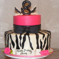 Hot Pink Zebra Print Cake Customer wanted the CakeBoss cake he made for his niece. This is what I came up with. Thanks Buddy for the inspiration! :)