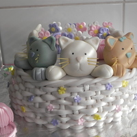 Kitten Basket   chocolate cake with chocolate mousse filling, cover in MMF and sugar paste