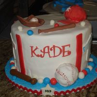 Baseball Cake Marble cake with cookies and cream filing, had some trouble with fondant. Rkt hat fondant decorations. It's also missing the topper,...