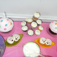 Giant Cupcake 1St Birthday Giant first birthday cupcakes for twins. The little cupcakes in the dish are (two peas in a pod) the twins!