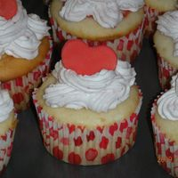 Valentine's Day Cupcakes   Champagne cupcakes with strawberry puree filling and strawberry whipped cream.