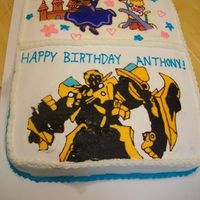 Dora And Transformer   The customer wanted both on one cake. My first FBCT. Here is the finished pic, with borders and all.