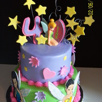Tinkerbel And Friends butter cream icim with hand painted fondant