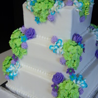 Bright And Lovely buttercream icing with royal icing flowers.