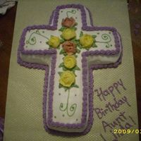 Cross Birthday Cake My first commissioned cake hooray! Friend wanted a religious themed cake for his aunt's birthday. Yellow cake & english toffee...