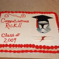 Clone Troop Graduation Cake Edible image my sig other designed for the cake. Had it printed at local cake supply store.