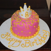 "Mini Princess Cake 4"" mini princess themed cake for my Niece. It was a surprize cake gift. Fondant covered with buttercream icing accents. Crown is..."