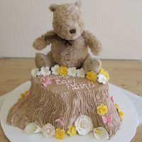Classic Pooh Sitting On A Tree Stump This was a gift to a friend. The cake itself was vanilla cake with alternating layers of fresh strawberries and choc. choc. chip mousse....