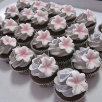 Mini Chocolate Cupcakes + Purple Buttercream + Fondant Flowers