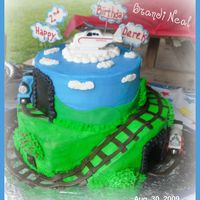 "Derek's 2Nd Birthday- Thomas & Friends Dereks 2nd Birthday Cake-Thomas & Friends8"" Round Chocolate Cake with Cookies and Cream Filling and Buttercream Icing12""..."