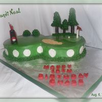Golf Course 8' Round White & Chocolate Cake, Buttercream Icing with Fondant/Gumpaste Decorations. Thanks jowhip for the inspiration.