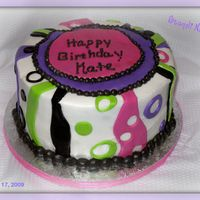 "Happy Birthday Kate 8"" Round White Cake, Buttercream with MMF decorations"
