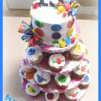 "Kady's 13 Birthday Kady's 13 Birthday Cupcake Tower6"" Round Strawberry Lemonaide Cake with Buttercream Icing and Fondant/ Gumpaste Decorations23..."