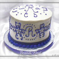 "Scroll/ Monogram Bridal Shower Scroll Work Bridal Shower6"" Round Chocolate Cake with Purple Buttercream Scrolls & Monogram to match invitations(Its actually a..."