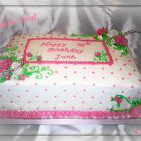 Quilted 75Th Birthday Happy 75th Birthday June11*15 White Sheet Cake Double Layer, Buttercream IcingQuilted Side with Ruffle Boarder, Gumpaste Flowers, Wired...