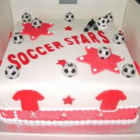 My Son's 10Th Birthday Cake This was my 1st try at run outs , I copied the logo off his football teams shirt was wicked doing them. My first lesson learnt in cake...