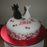 2 Cats Fondant Painted Birthday Cake This was my 1st attempt at painting on a cake, I made this for my neighbours birthday. I was inspired by Debbie Browns wedding cake that...