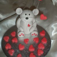 Valentine's Day Teddy More modelling this time teddy has 2 wired hearts and hand painted hearts on his tummy and 2 on his bum.