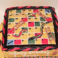 Snakes And Ladders Cake This was a fun cake to make, the Mr men counters were used by the little boys to play a game before he ate the cake...I thought that was...