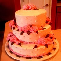 My 1St Stacked Cake   This was my 1st attempt at stacking a cake. For what it is, I think it turned out okay. The entire cake is bc.
