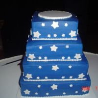 Congrats Jessica And Drew  Made this 4 tiered sqaure stacked cake for a cousin on mine's wedding. She wanted the darker blue for dress military blues. I chased...