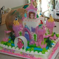 Princess Cake 1/4 sheet-1/8 sheet and 1/2 sheet. the cake was done in buttercream and serves 56