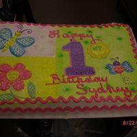 Happy First Birthday   FULL SHEET DONE IN WHIP CREAM