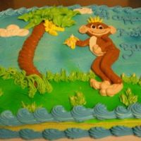 Funny Monkey   1/2 sheet buttercream iced with a momkey piped on the the cake to celebrate a birthday