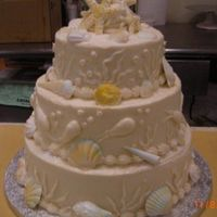 014.jpg a seashell wedding for the beachall moist white cake with a natural colored buttercream,serves 120 guests,seashells are white gumpaste ....