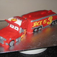 Mack Lightening Mcqueen Annoyed that I messed up the front onthe truck making it sink at the back and look a bit odd! Otherwise pleased with it. All fondant and...
