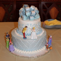 "Cinderella Birthday Cinderella Birthday for my godchild's 3rd birthday - white cake with strawberry filling - 10"" / 6"" all buttercream with..."