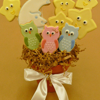 Owls, Moon And Stars Cookie Bouquet I got the inspiration for the little owl cookies from a yahoo search and was really pleased with how they came out. I snapped the photo...