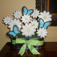 Butterflies And Flowers Cookie Bouquet I had a fun time with this one, even though I finished the cookies in a rush and at the very last minute! I went back to put in the...