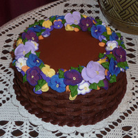 Birthday Cake With Pansies This was for my sister-in-law's birthday. The pansies and buds were all piped with royal icing.