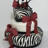 "Zebra Wedding A 12"", 9"", 6"" topsy turvy for a wedding. Thanks for looking!!"
