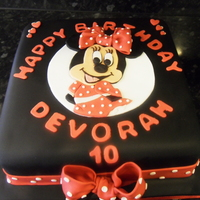 Minnie Mouse   choc cake covered with sugsrpaste