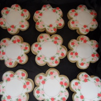 Flower Cookies made to match serviettes for engagement