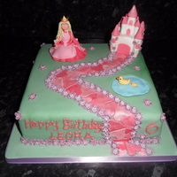 Princess Cake princess cake for 6 yr old. princess and castle made from fondant with cmc. thanks for looking