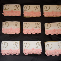 Lace Cookies made for an engagment, lace made using patchwork cutter.