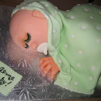 Sleeping Baby Carrot cake with cream cheese icing covered in fondant
